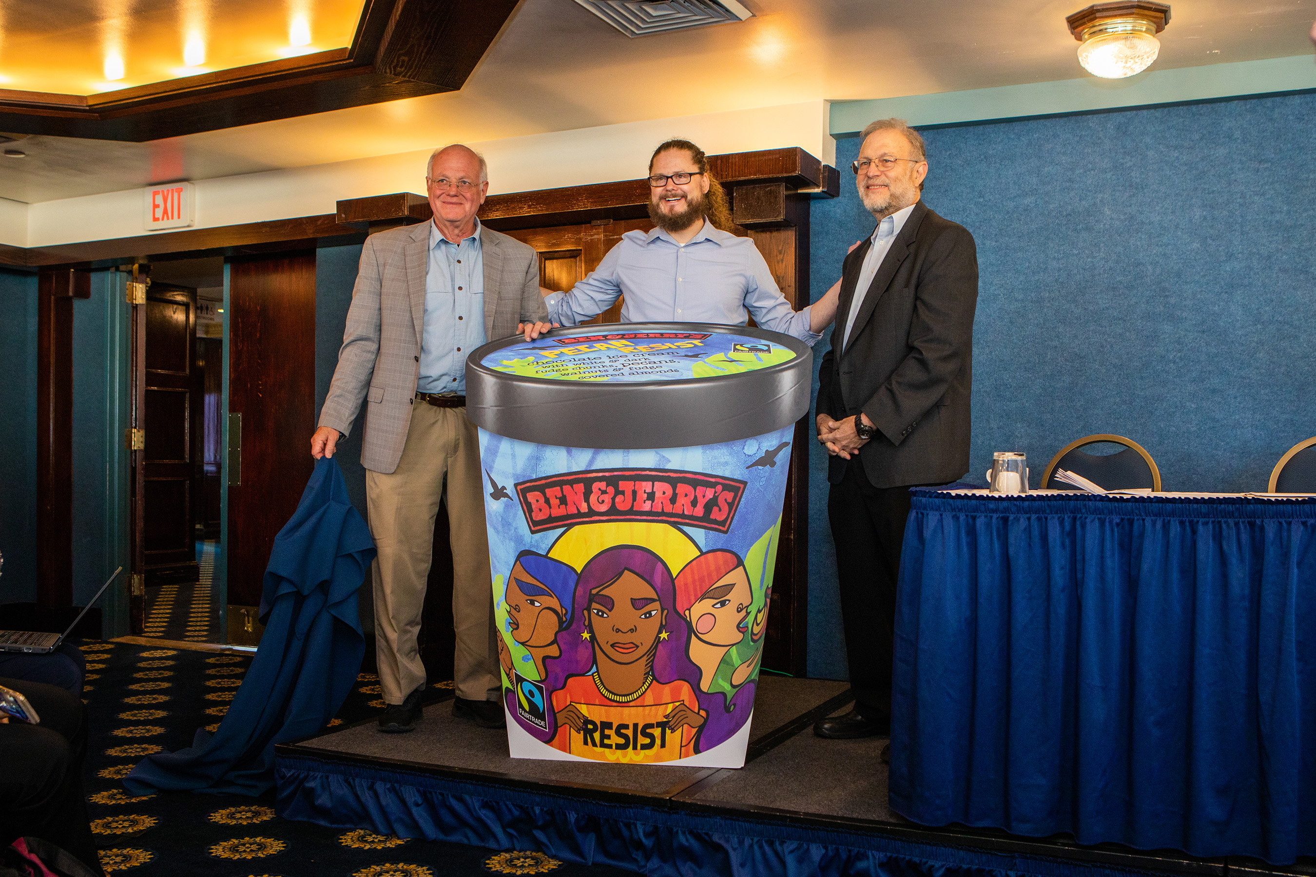 Ben & Jerry's Co-founders Ben Cohen (left) and Jerry Greenfield (right) join Ben & Jerry's CEO Matthew McCarthy (center) to unveil a new flavor, Pecan Resist. The company is resisting the regressive policies of the current administration and supporting four activist groups working for a more just nation.