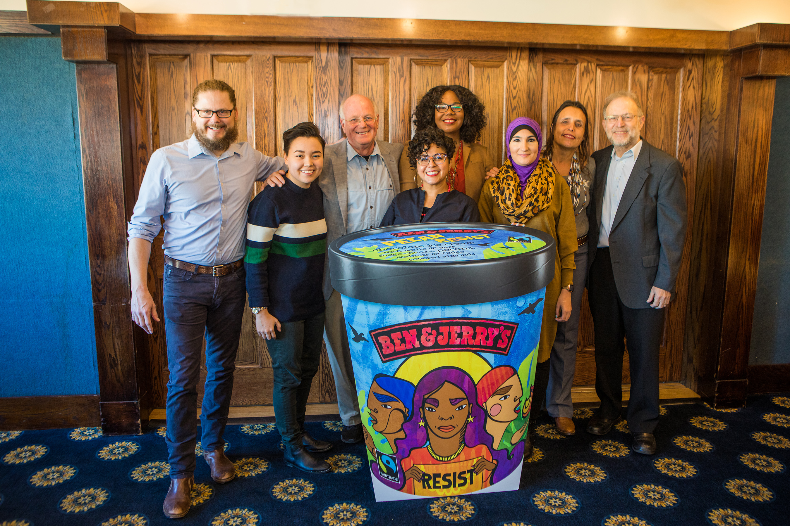 Ben & Jerry's launched Pecan Resist today to support groups working for justice. Pictured L to R: Matthew McCarthy, Ben & Jerry's CEO; Dani Marrero Hi, Neta; Ben Cohen, Ben & Jerry's Co-Founder; Favianna Rodriguez, artist-activist; Brandi Collins-Dexter, Color Of Change; Linda Sarsour, Women's March; Winona LaDuke, Honor the Earth; Jerry Greenfield, Ben & Jerrys Co-Founder.
