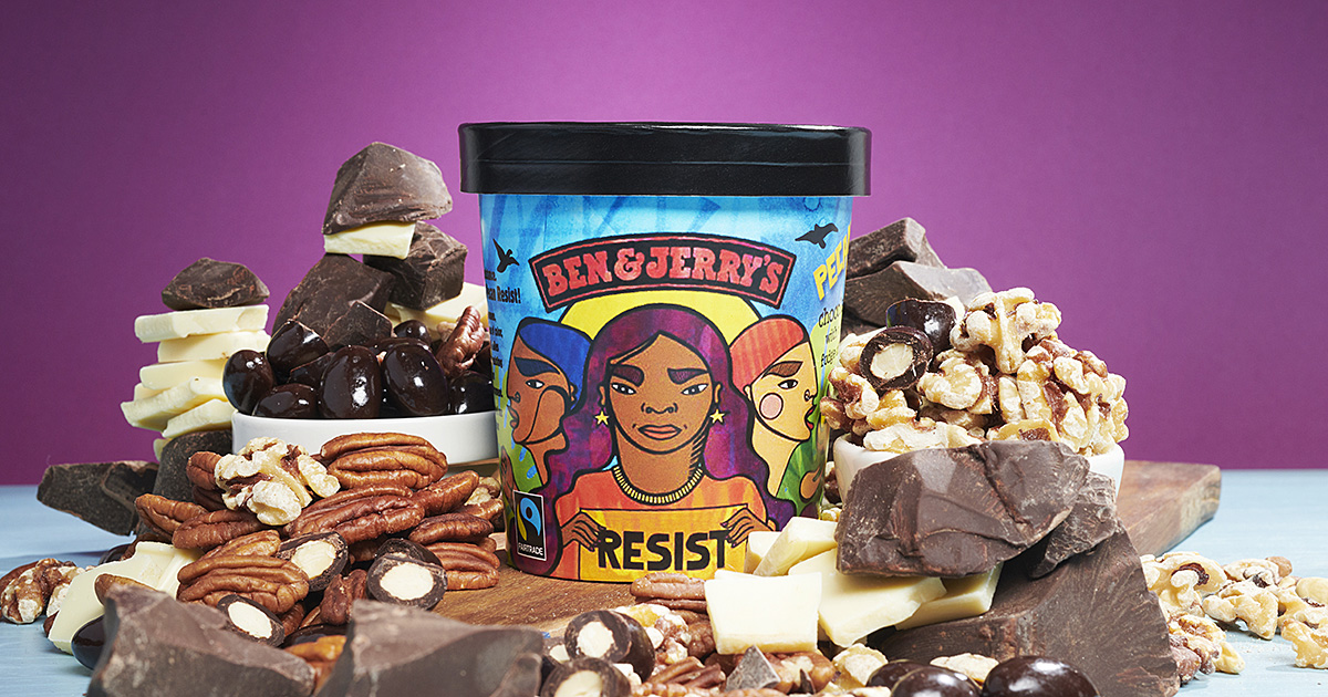 Pecan Resist is a chocolate ice cream with white & dark fudge chunks, pecans, walnuts and fudge-covered almonds.