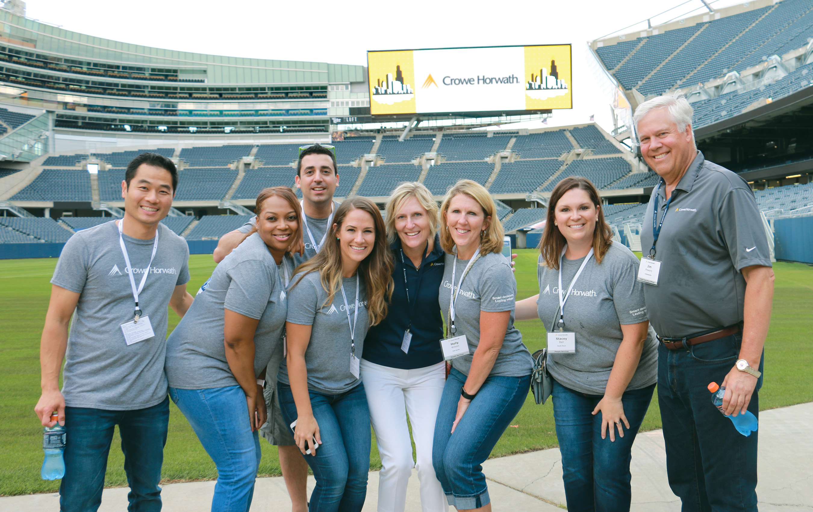 Participants at the Crowe Learn2Lead program, a national leadership program for high-achieving students, enjoy an evening outing at Soldier Field in Chicago.