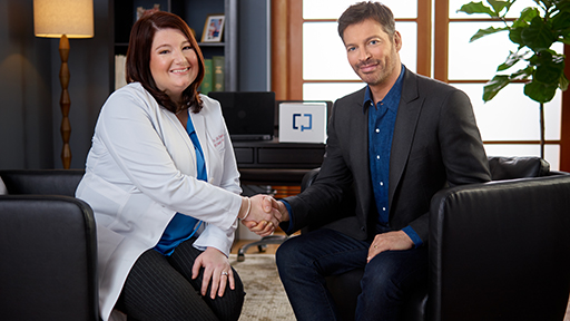 Harry Connick, Jr. and Dr. Jaqueline Champlain, a family medicine physician from Austin Regional Clinic in Austin, TX, discuss the importance of timely colon cancer screening and a noninvasive MT-sDNA screening option that can be used in the comfort of home