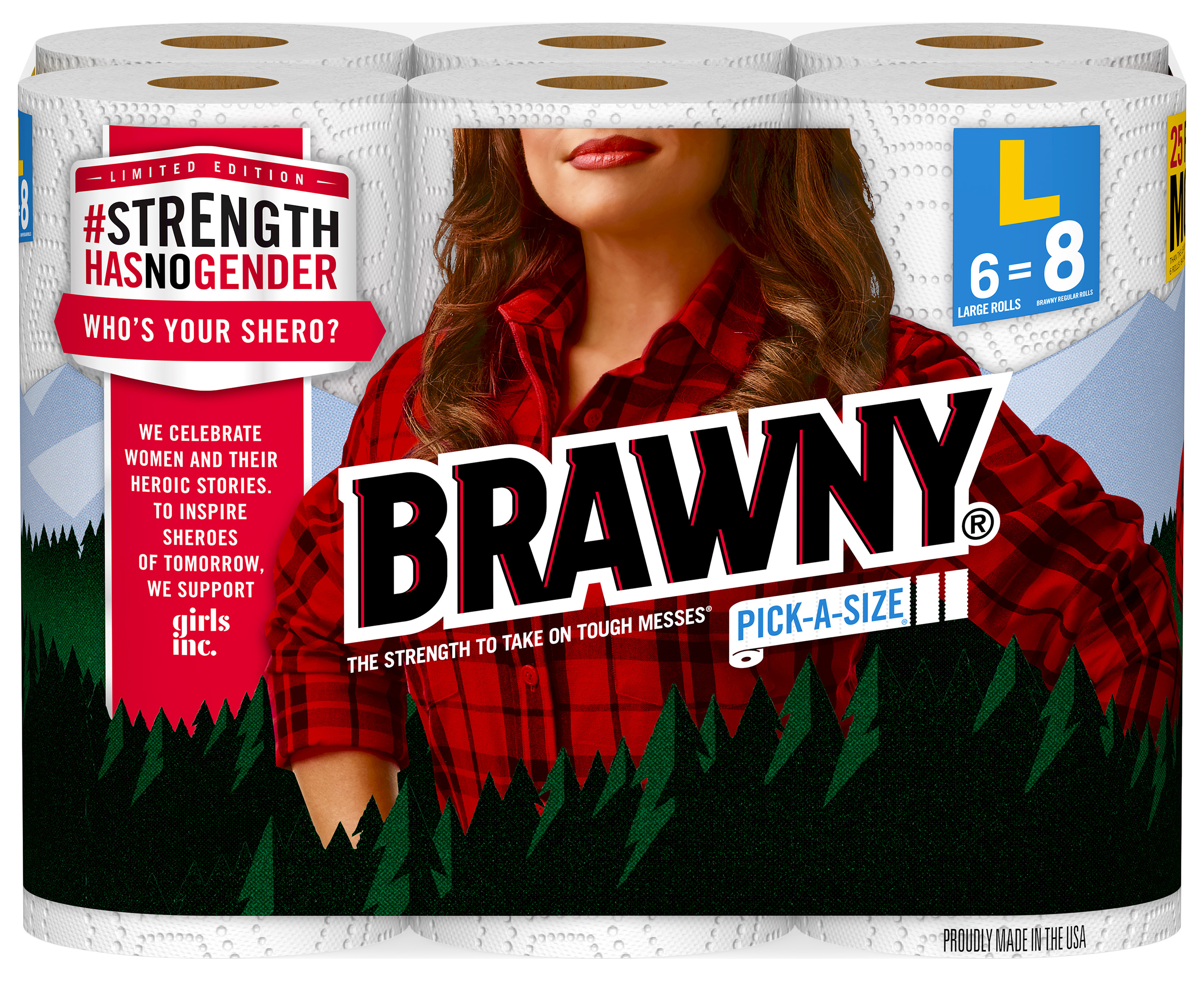 Brawny® is releasing limited-edition product featuring a replacement of the Brawny Man® with three different women on Brawny® packages at retailers nationwide during Women's History Month.