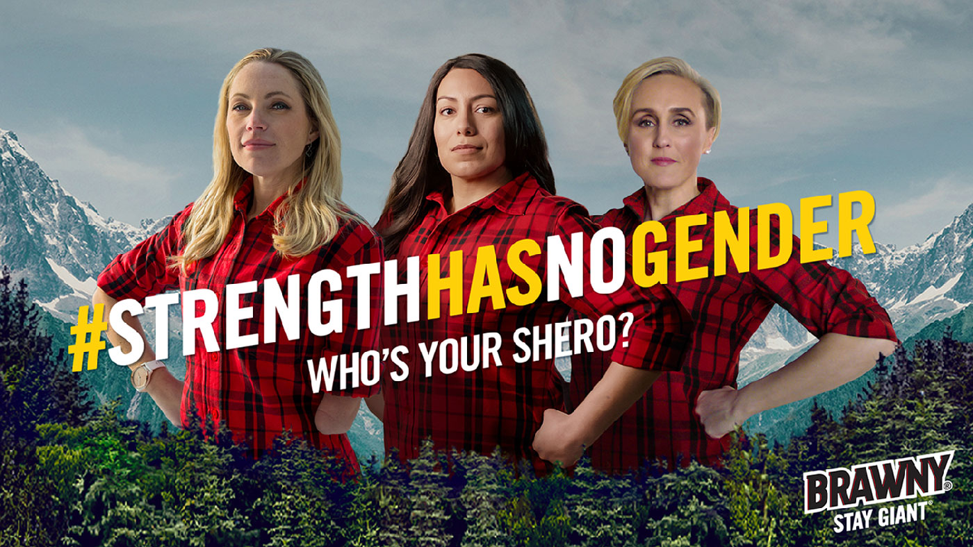Brawny featured Sheroes Sarah Herron, Vanessa Casillas and Rachael Wilson (left to right) demonstrate #StrengthHasNoGender.