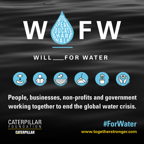 The Caterpillar Foundation, together with its global partners, launches the Value of Water campaign to raise awareness of the value of water and the impact of the global water crisis on community health, education and economics. What would you do #ForWater?