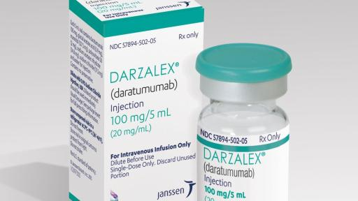 A DARZALEX 100mg product shot that includes a medicine vial and it's packaging.