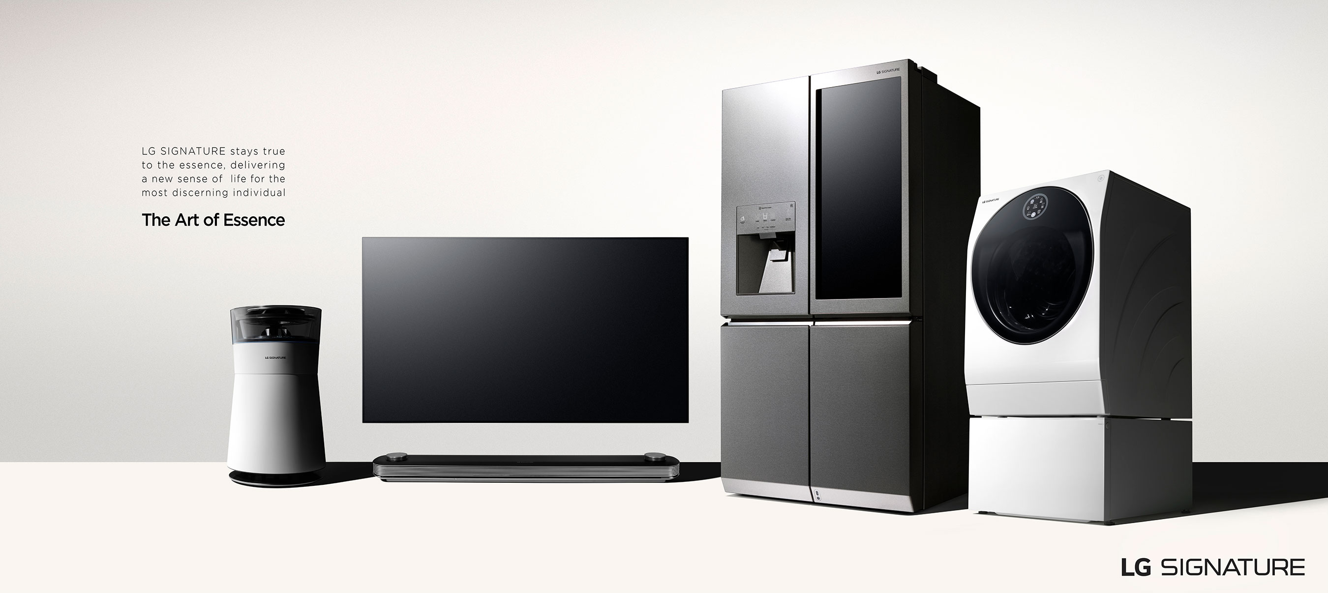 "The range of LG SIGNATURE products includes a door-in-door refrigerator, a TWINWash washing machine, a special air purifier and the award-winning OLED wallpaper TV ""W7"""