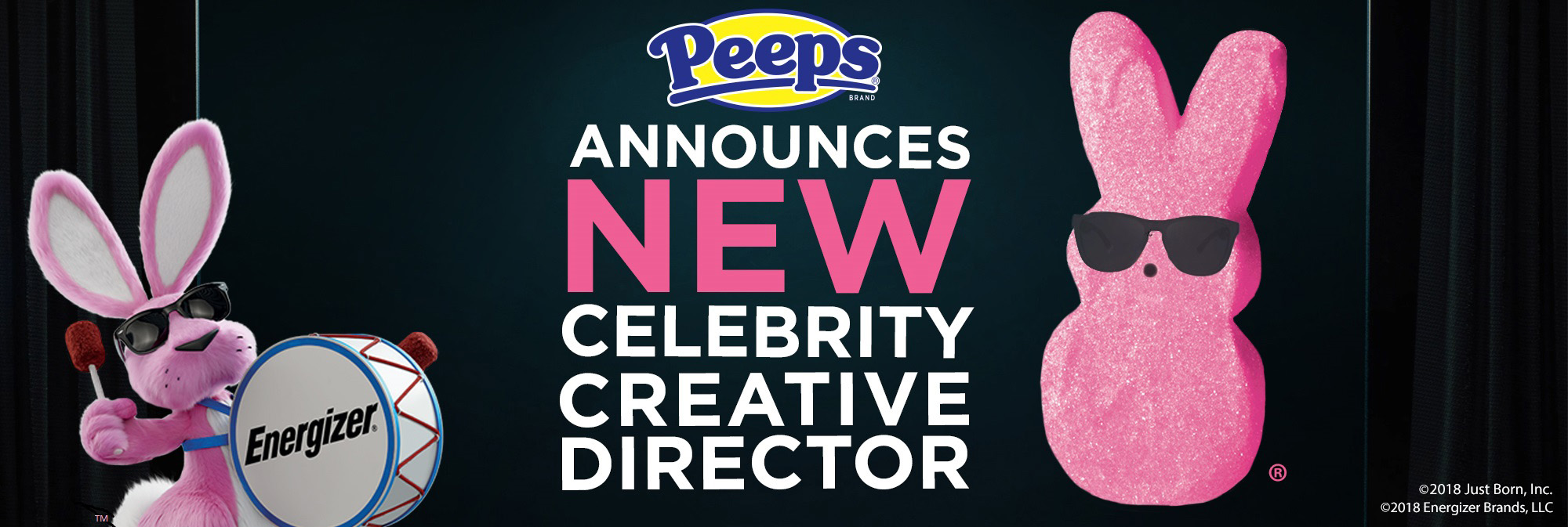 Header image stating: Peeps Announces New Celebrity Creative Director. The Energizer bunny is to the left and a pink peep with black sunglasses to the right.