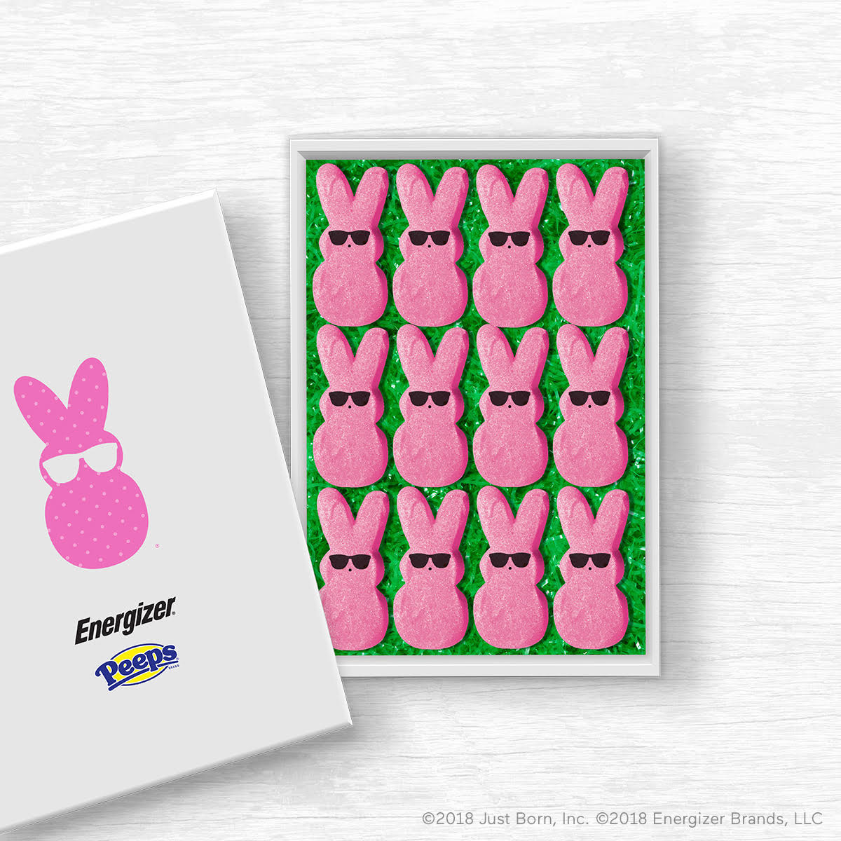 The Energizer Bunny™ adds his understated and chic addition, sunglasses, to each pink PEEPS® bunny this season.