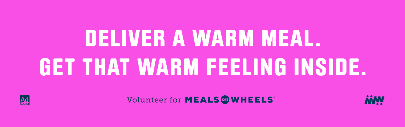 Pink banner image for Meals on Wheels campaign