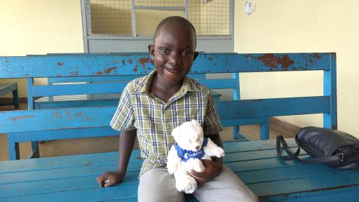 A young African boy with a healthy mouth after Smiletrain's intervention.