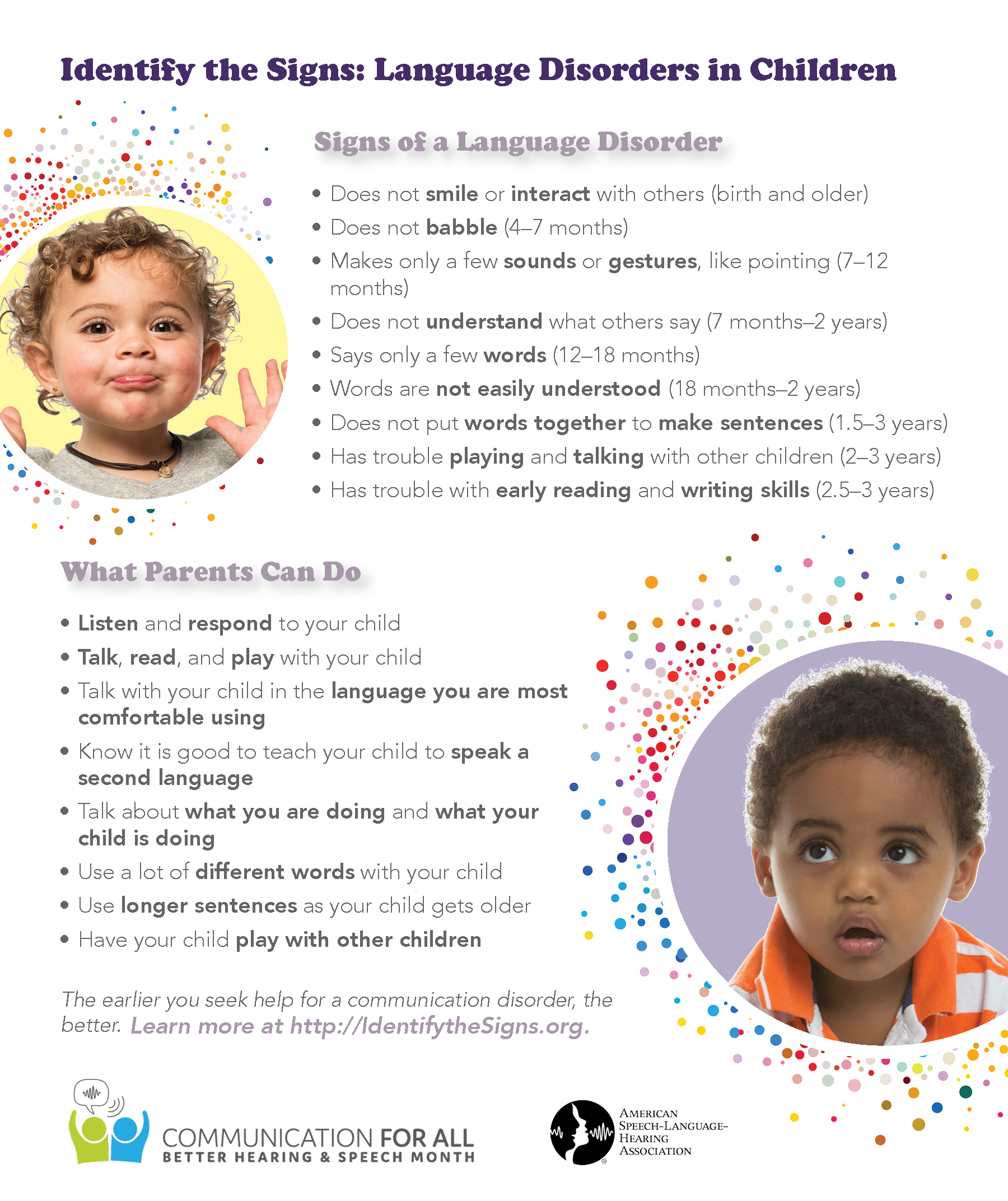 parents unaware of early signs of communication disorders