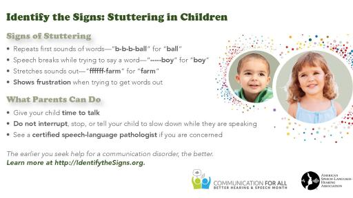 Infographic detailing the signs of stuttering in children