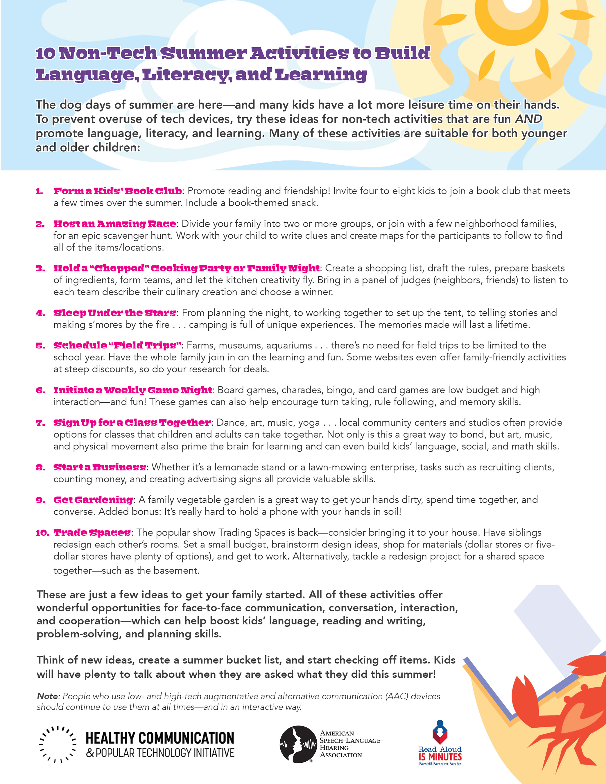 10 Non-Tech Summer Activities