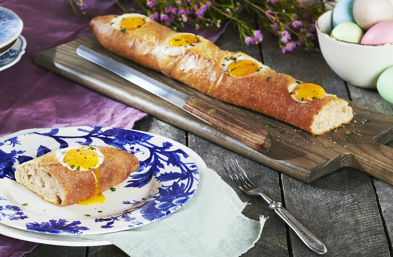 These eggs are too good to stay hidden. This recipe features eggs oven-baked in a warm baguette.