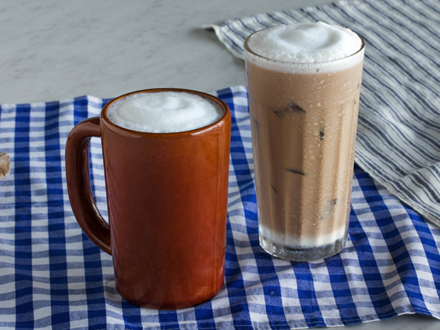 Other unique beverages on the Crafted Coffee menu include the Plain Latte, Caramel Latte, Vanilla Latte, and Mocha. Each beverage can be served hot or cold.