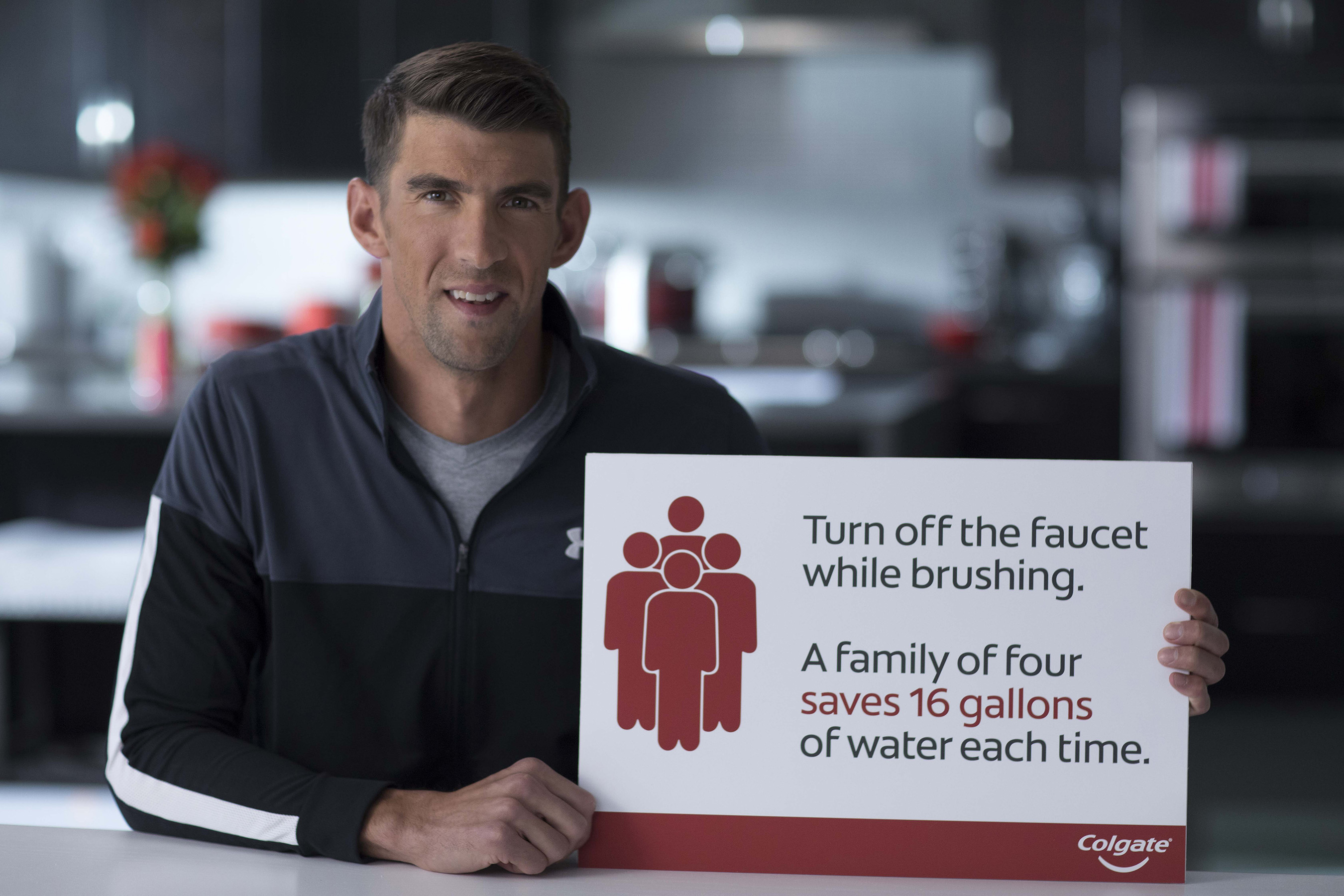 Michael Phelps spreads Save Water message