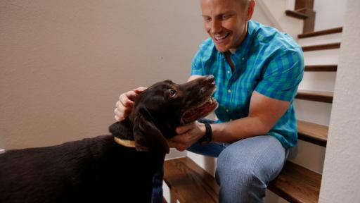 Sean Lowe Petting his Dog, Ellie