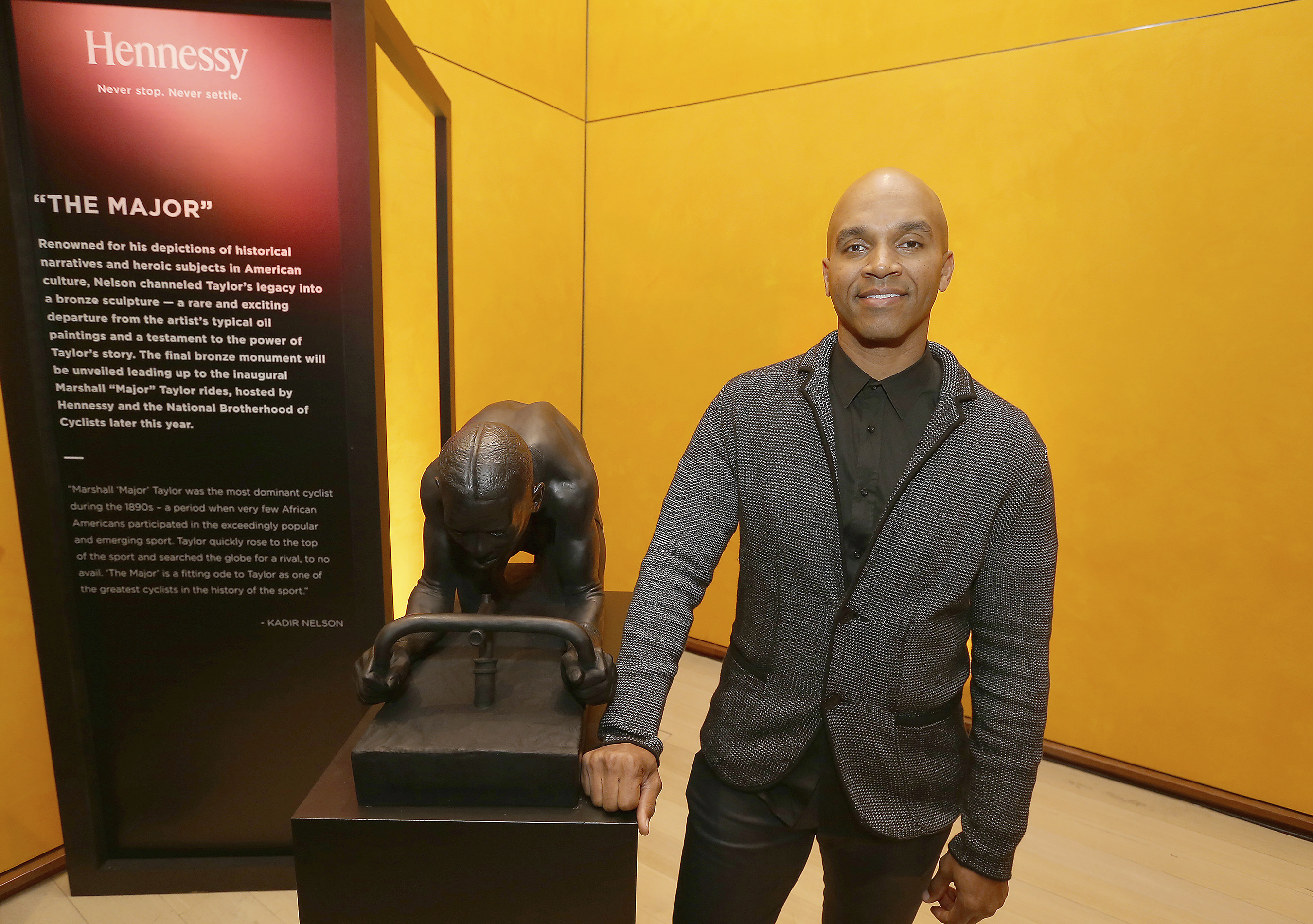 """Artist, author and cycling enthusiast, Kadir Nelson, sculpted a modern-day monument entitled """"The Major"""" - channeling the spirit and achievements of Marshall """"Major"""" Taylor."""