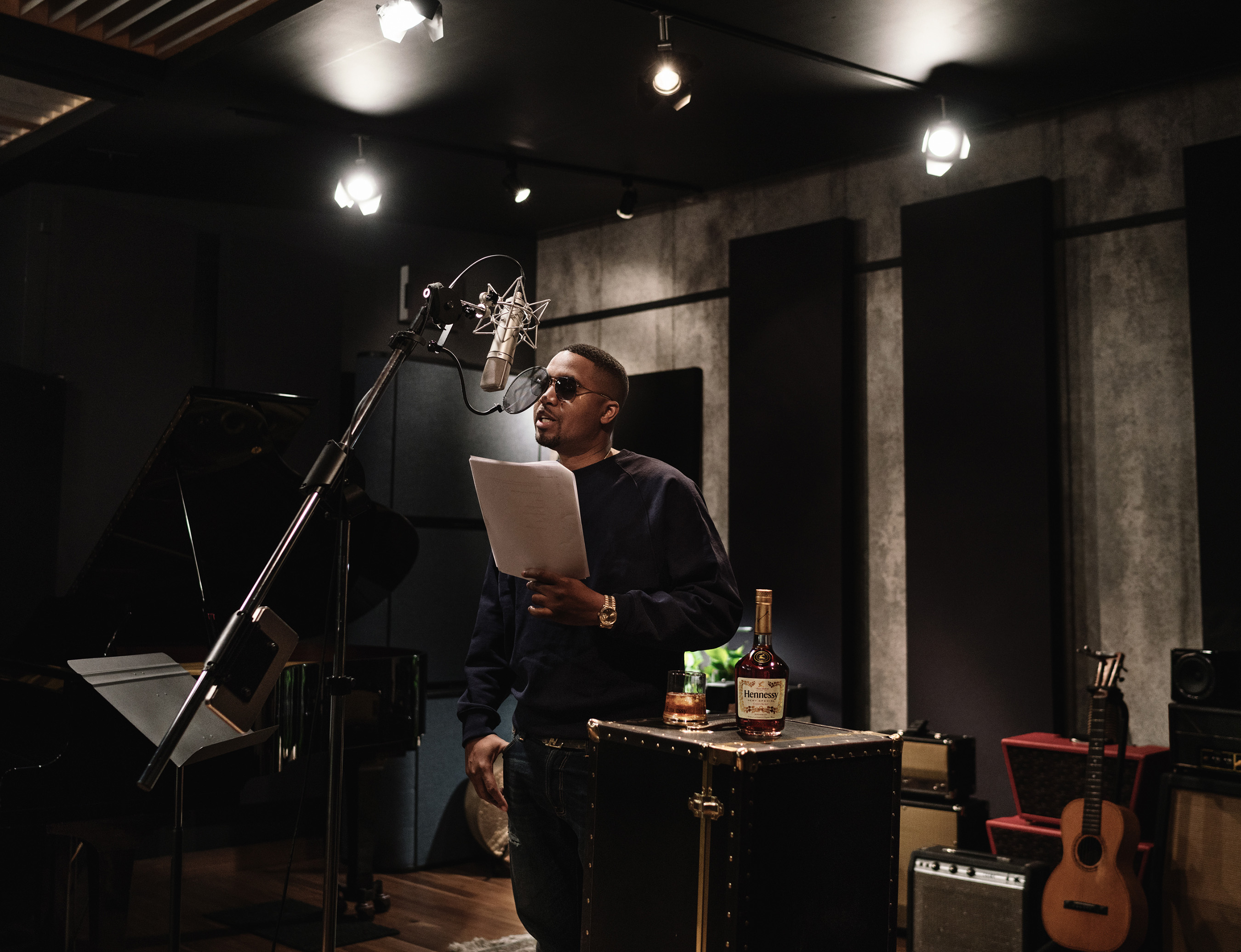 """A behind-the-scenes look at musician and entrepreneur Nas, lending his voice to Taylor in Hennessy's new """"Wild Rabbit"""" ad creative."""