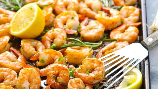 Pan of New Orleans barbeque shrimp.