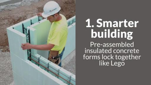 Video explaining nine reasons why building with Insulated Concrete Forms is better than building with wood
