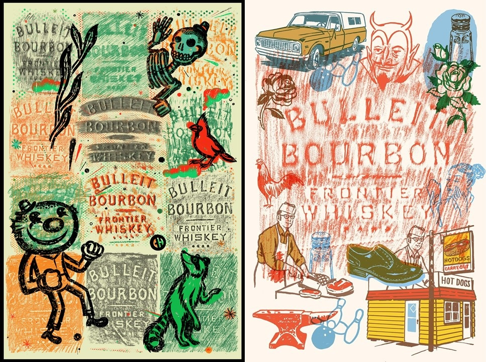 Bulleit Frontier Works: Bottle Impressions artwork created by local Chicago artists CHema Skandal! (left) and Ryan Duggan (right).