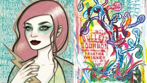 Image of Bottle Impressions artwork created by local New York artists Tara McPherson (left) and Taylor McKimens (right)
