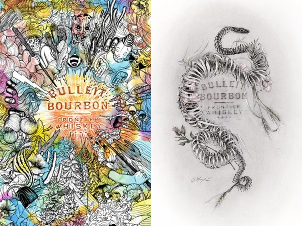 Bulleit Frontier Works: Bottle Impressions artwork created by local Portland artists Zach Johnsen (left) and Chirstina Mrozik (right).