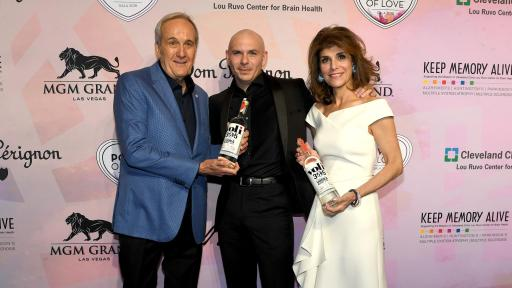 Larry Ruvo, Pitbull and Camille Ruvo on the red carpet at Keep Memory Alive's 22nd annual Power of Love gala