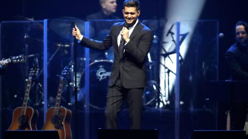 Michael Bublé performs at Keep Memory Alive's 22nd annual Power of Love gala in front of a live band.