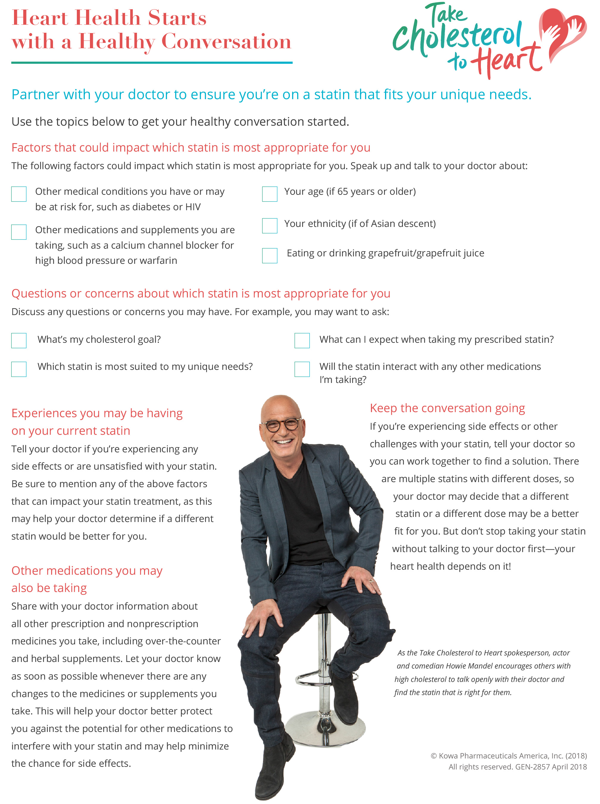 This doctor discussion guide will help facilitate the conversation with your doctor so you can make the most of your doctor's appointment and ensure you're on a statin that fits your unique needs.
