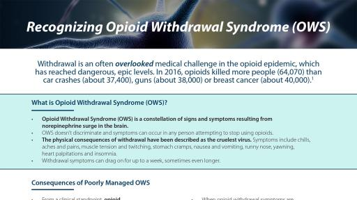 Opioid Withdrawal Syndrome (OWS) Fact Sheet