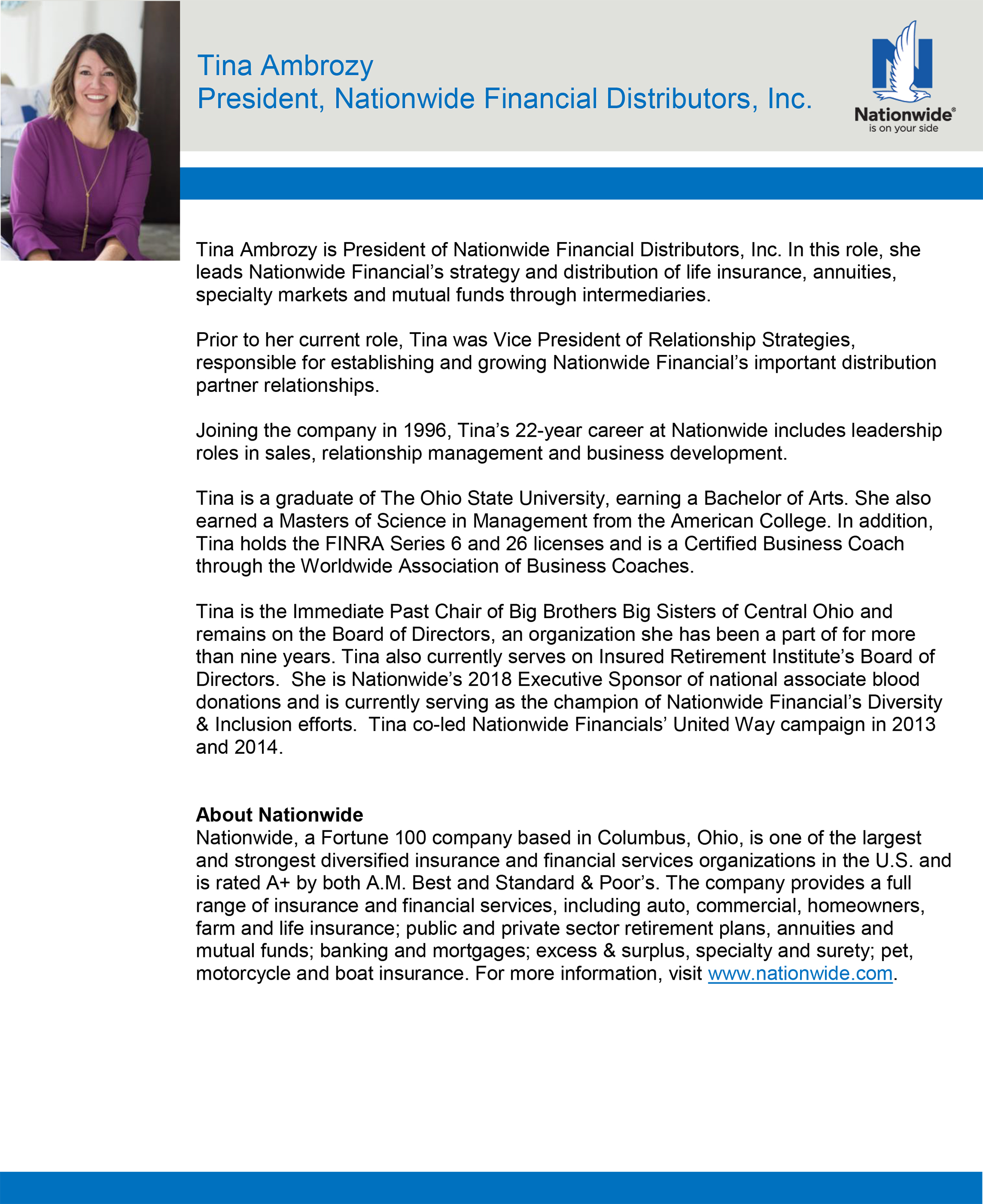Nationwide Retirement Institute 2018 Social Security Survey spokesperson bio, Tina Ambrozy