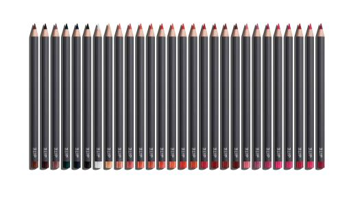 Lip pencils of various colors in a row.