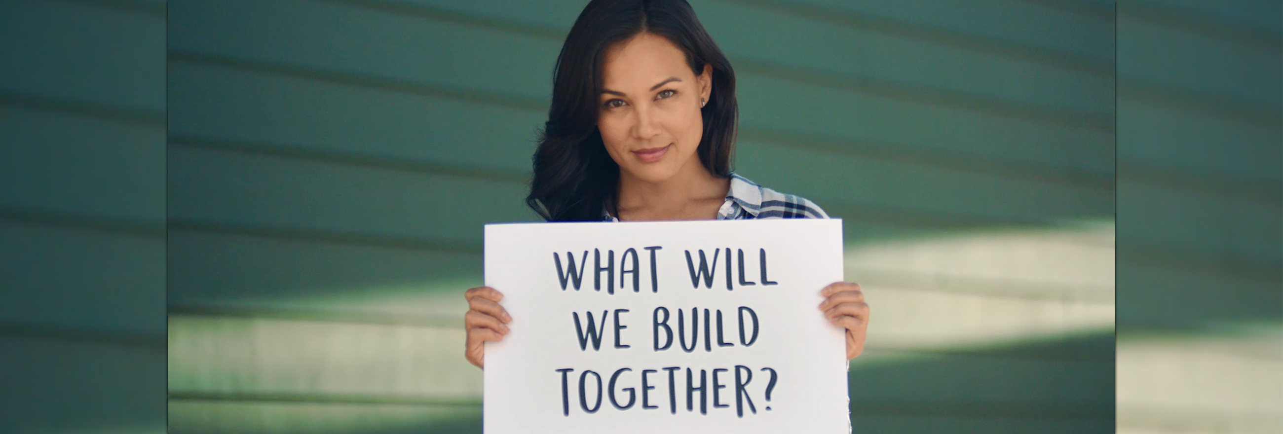 "Video asking women, ""What will you build?"""