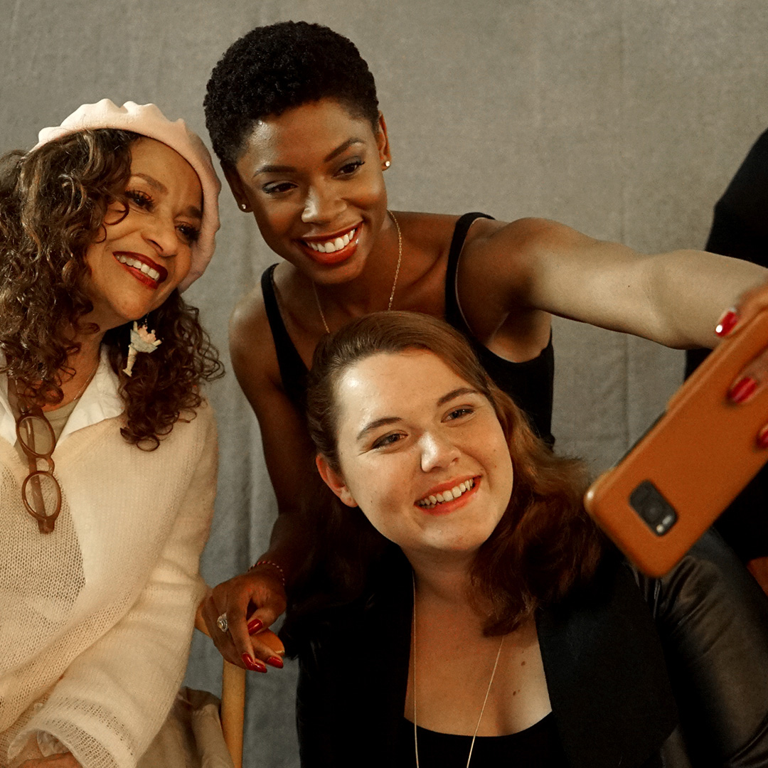 "Debbie Allen and stars Chelsea Harris and Caralyn Singleterry take a selfie on the set of ""An Hour With Her"""