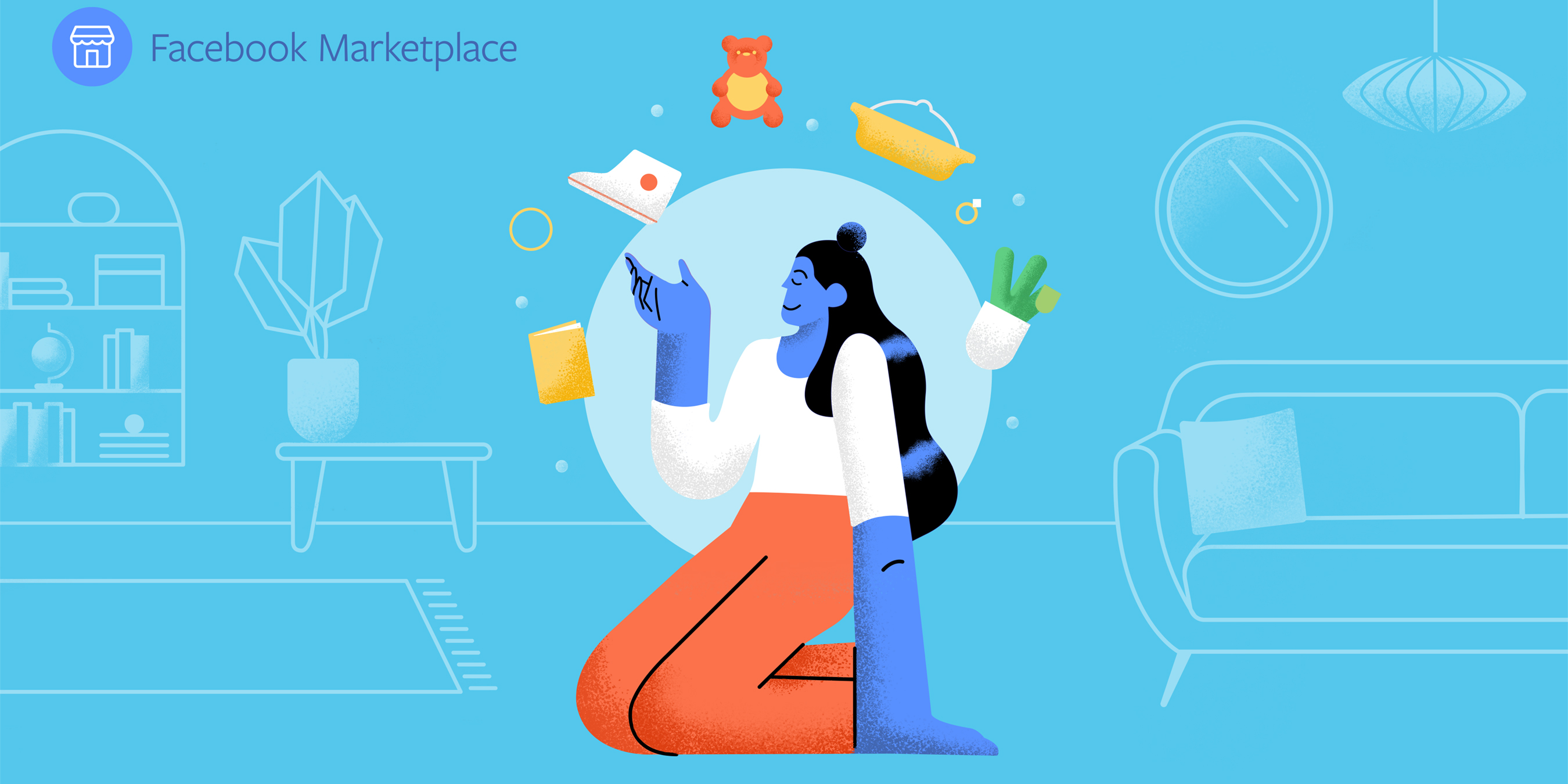 Graphic of woman sitting down with marketplace items