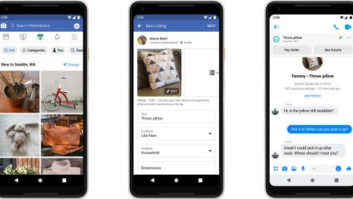 Phone screens displaying Facebook