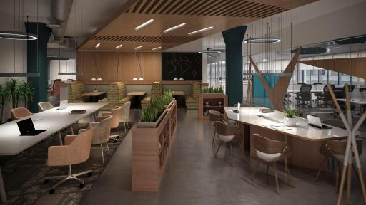 A modern business club with natural wood finishes, featuring plenty of tables and workspace.