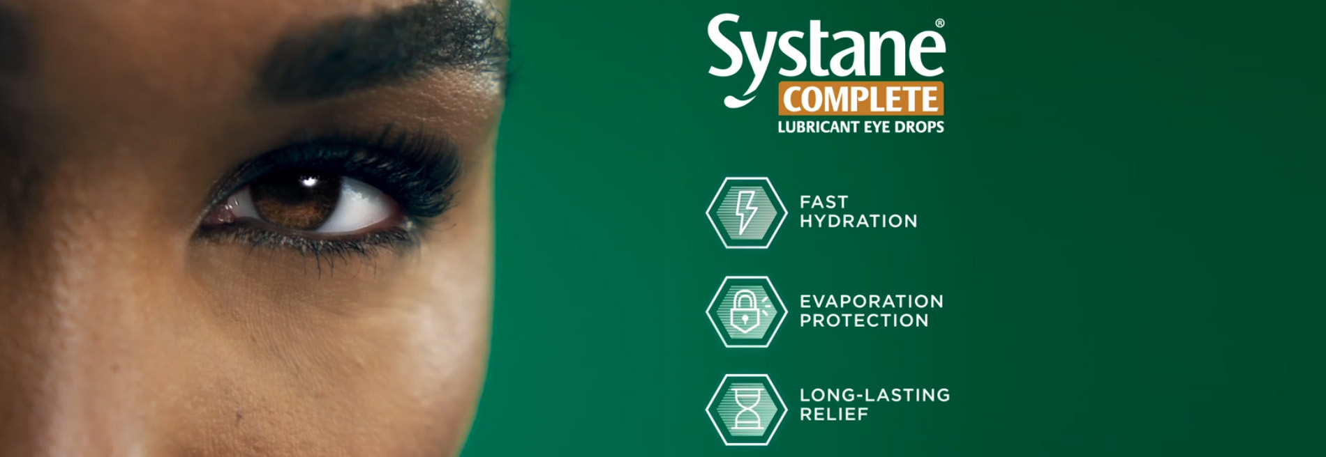Closeup image of Venus Williams white clear eye with a bottle SystaneComplete logo.