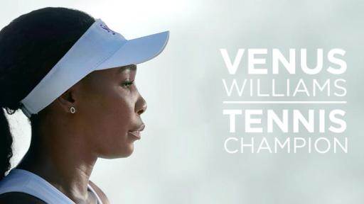 "Venus Williams profile on the left with the words, ""Venus Williams, Tennis Champion."""