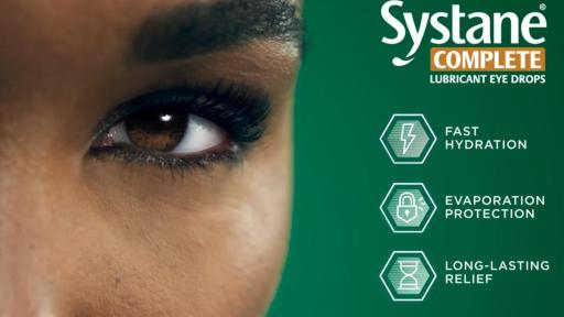 Closeup image of Venus Williams white clear eye with a bottle SystaneComplete logo, click to play video.