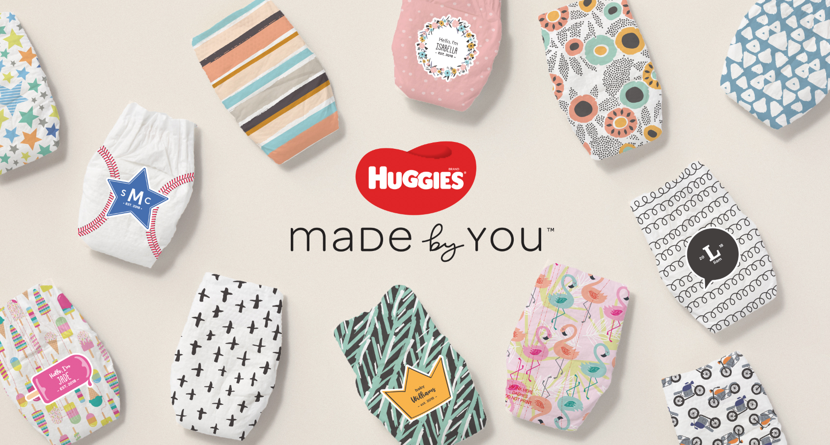Huggies® Made by You™ launches with five fashion- and trend-inspired collections, including Bright World, Pattern Party, Sweet Safari, Little Hero and Mediterranean Mama.