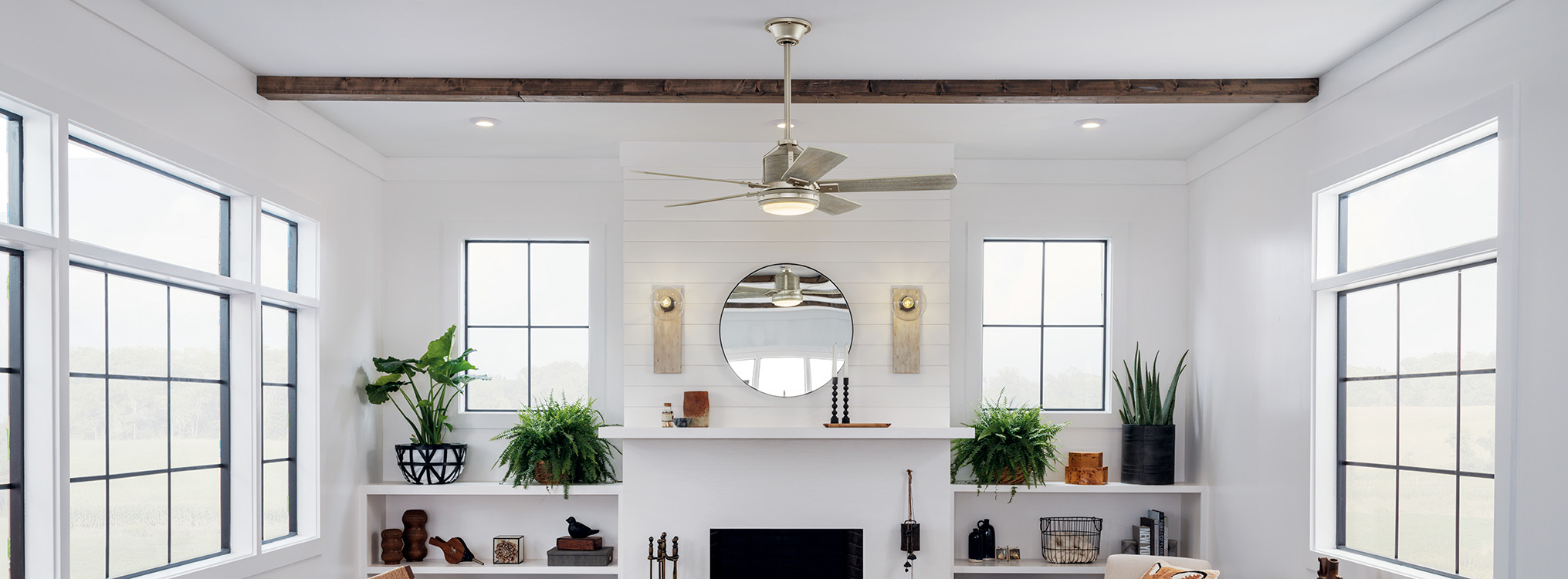 Ceiling Fan in a bright white room