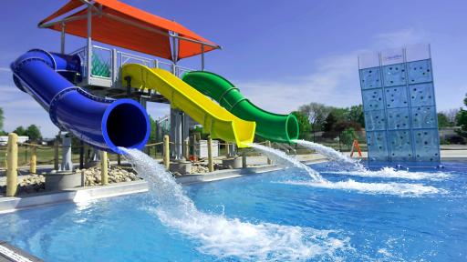 Water slides at the SC Johnson Community Aquatic Center
