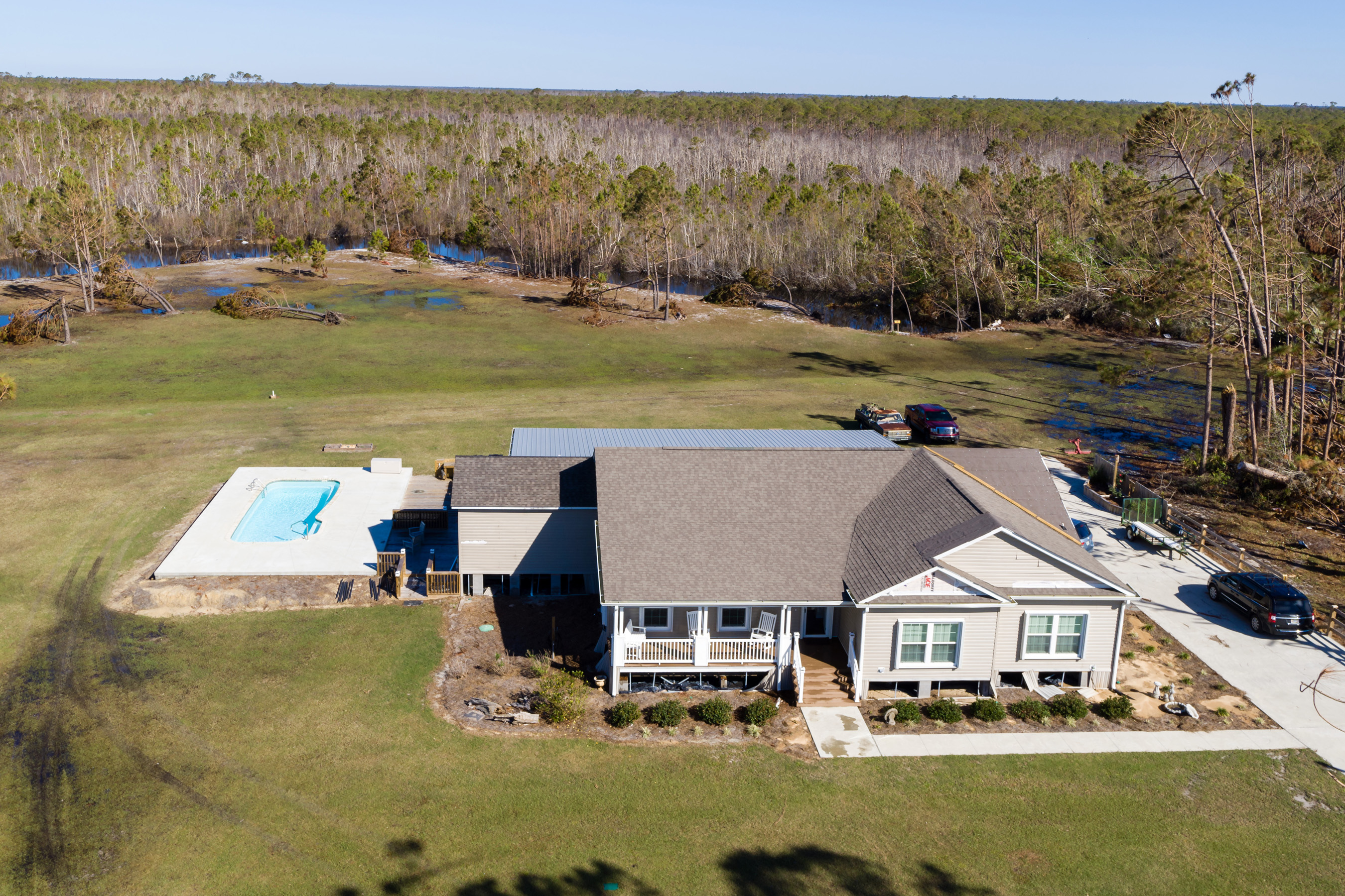 Hurricane Michael's 155 mph winds and 9ft storm surges only left the Clayton Built home with minimal damage.