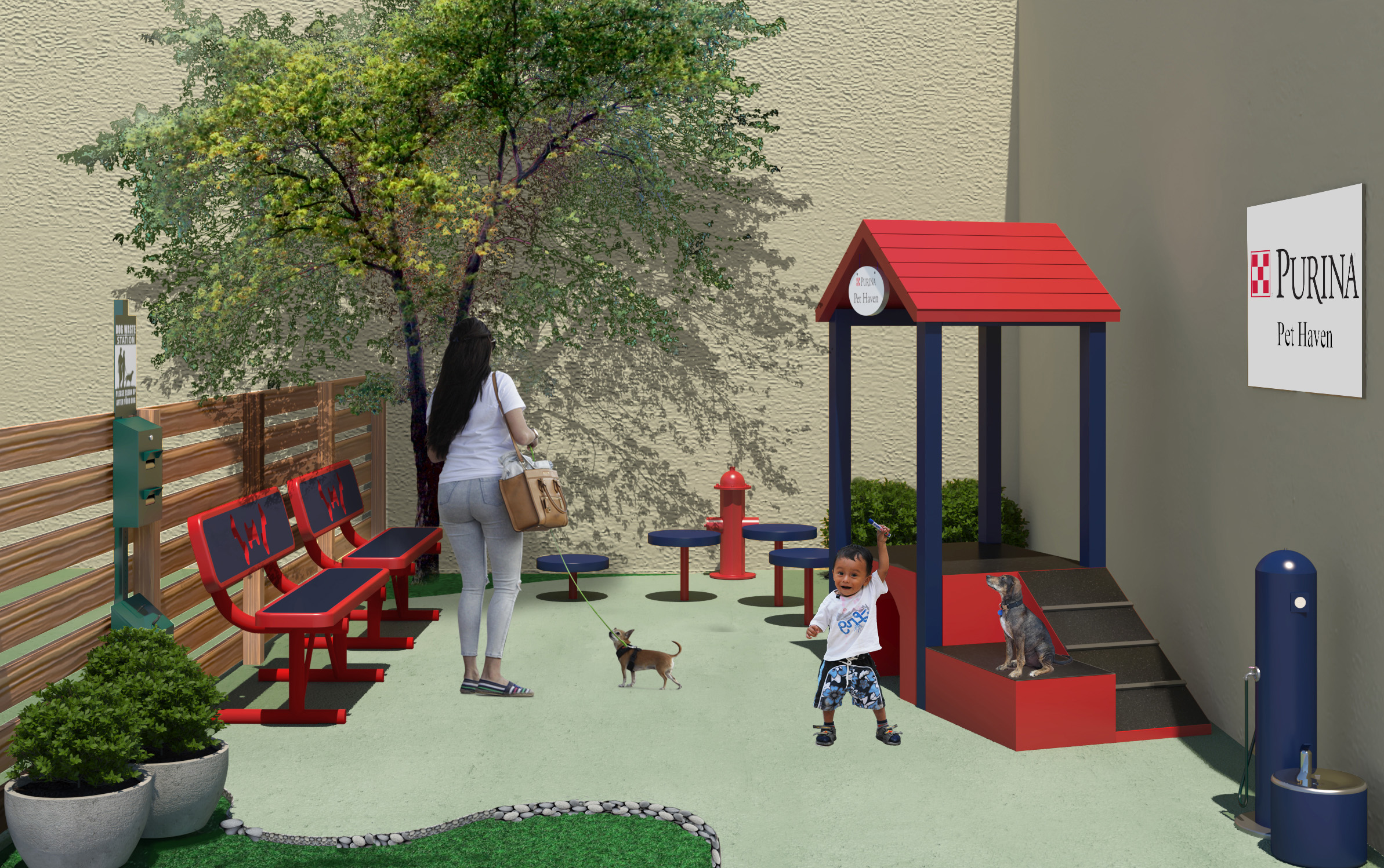 "To encourage exercise and bonding time that is vital to the health of domestic violence victims and their pets during transition, an outdoor ""Purina Pet Haven"" play area will be built at PALS Place."