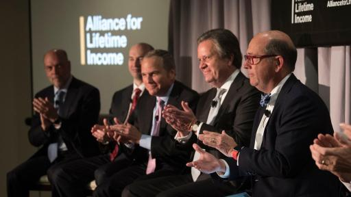 From right, Moderator Joe Coughlin, Ph.D., MIT AgeLab; Barry Stowe, CEO, Jackson National; and Stephen Pelletier, Executive Vice President and COO, U.S. Business, Prudential; celebrate the launch of the new Alliance for Lifetime Income educational initiative on Thursday, June 14, 2018, in Washington. (Kevin Wolf/AP Images for the Alliance for Lifetime Income)