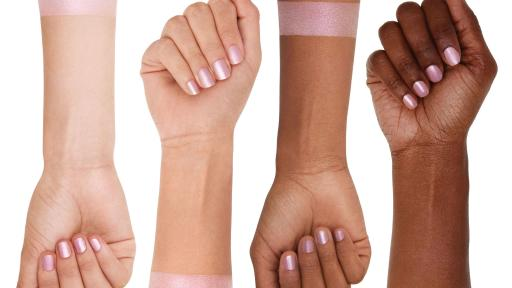Four arms with different skin tones wearing the Cloud 9 highlighter