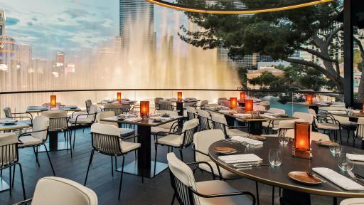 View from Spago's Al Fresco Patio Overlooking the Bellagio Fountains